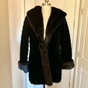 Black Velvet and Fur (faux) Coat